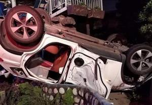 واژگونی تیگو ۷ پس از تصادف شدید با تویوتا