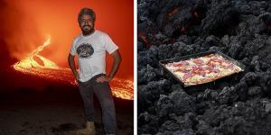 پیتزای آتشفشانی! آشپزی که با گدازه های آتشفشانی پیتزا می پزد