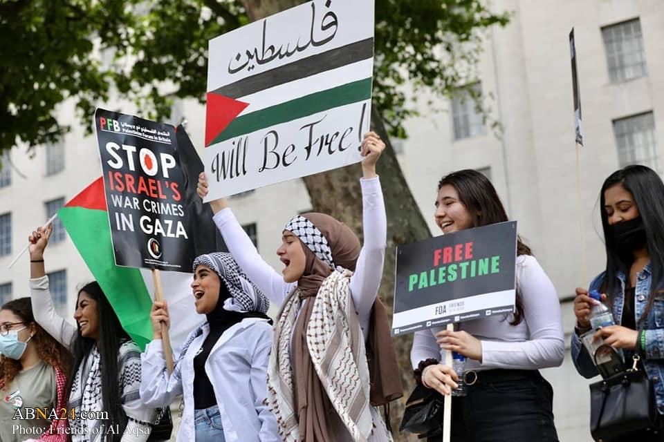 عکس/ تظاهرات در لندن برای فلسطین همزمان با برگزاری نشست جی 7