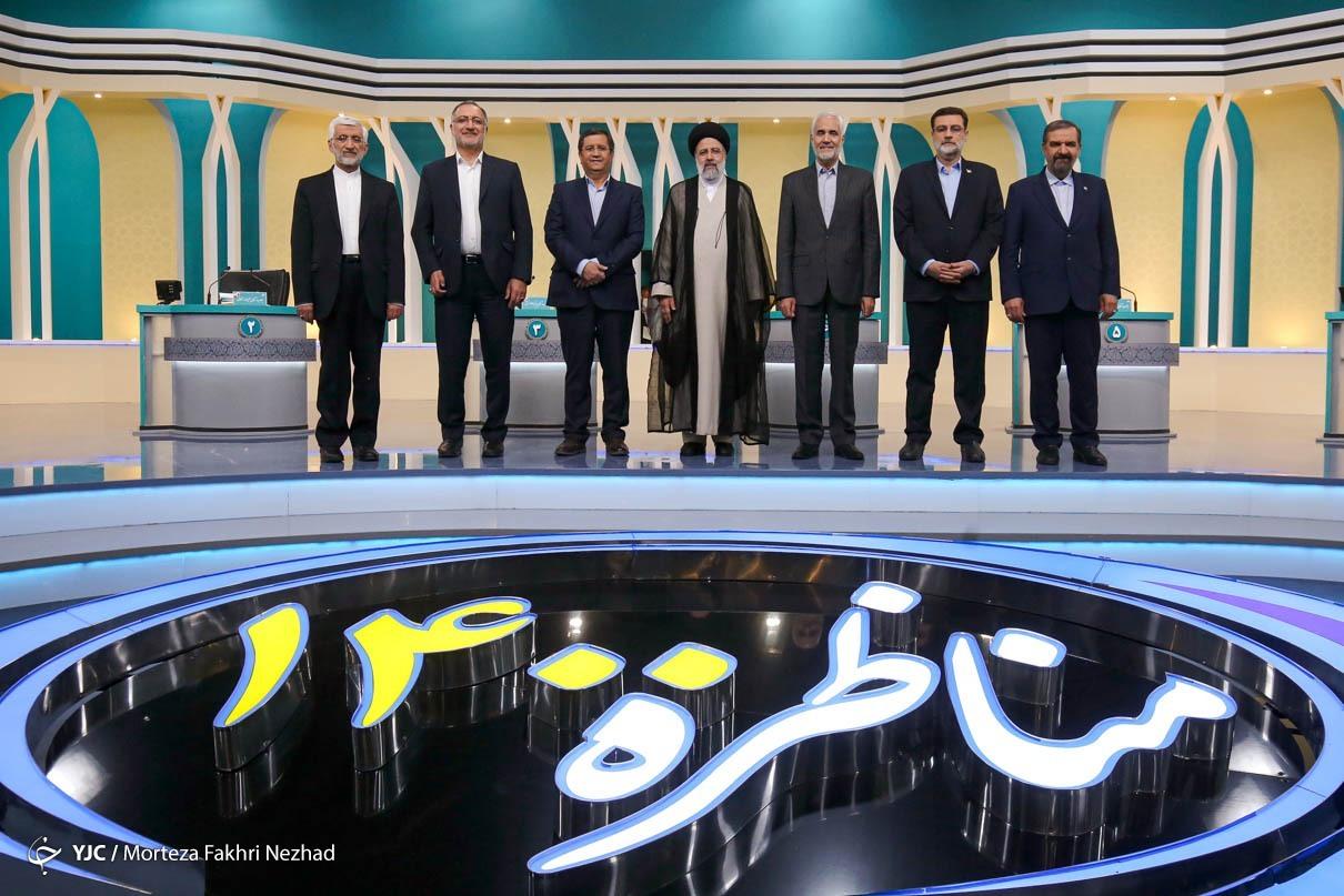 عکس یادگاری کاندیدها در پایان مناظره 1400
