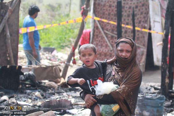 آتش سوزی در پناهگاه آوارگان روهینگیایی در هند