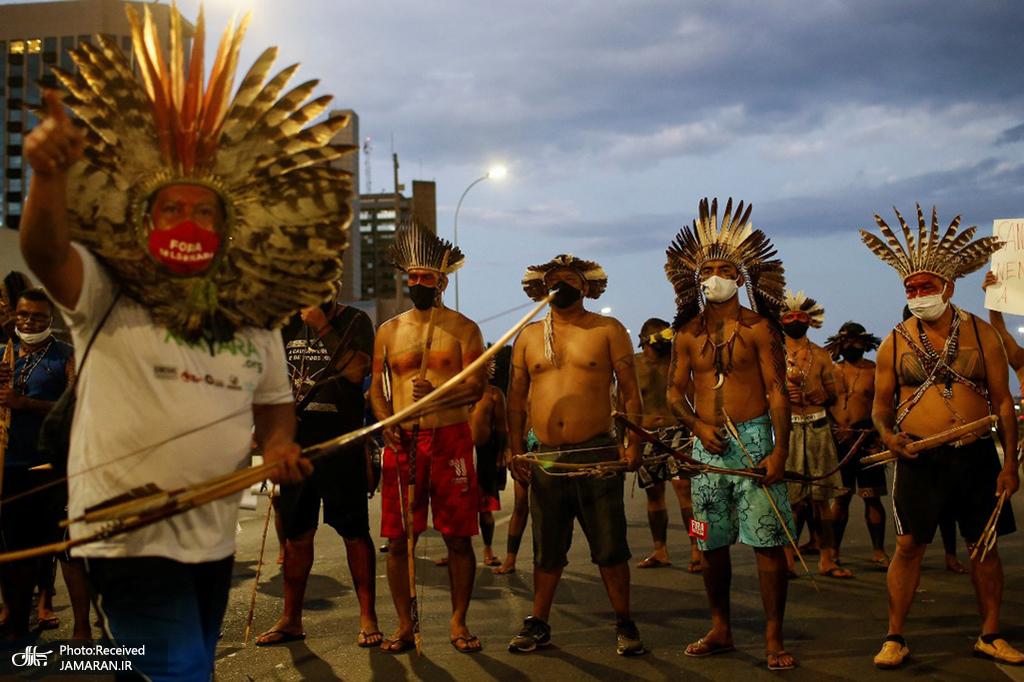 اعتراض بومیان برزیل در برازیلیا علیه سیاست های دولت