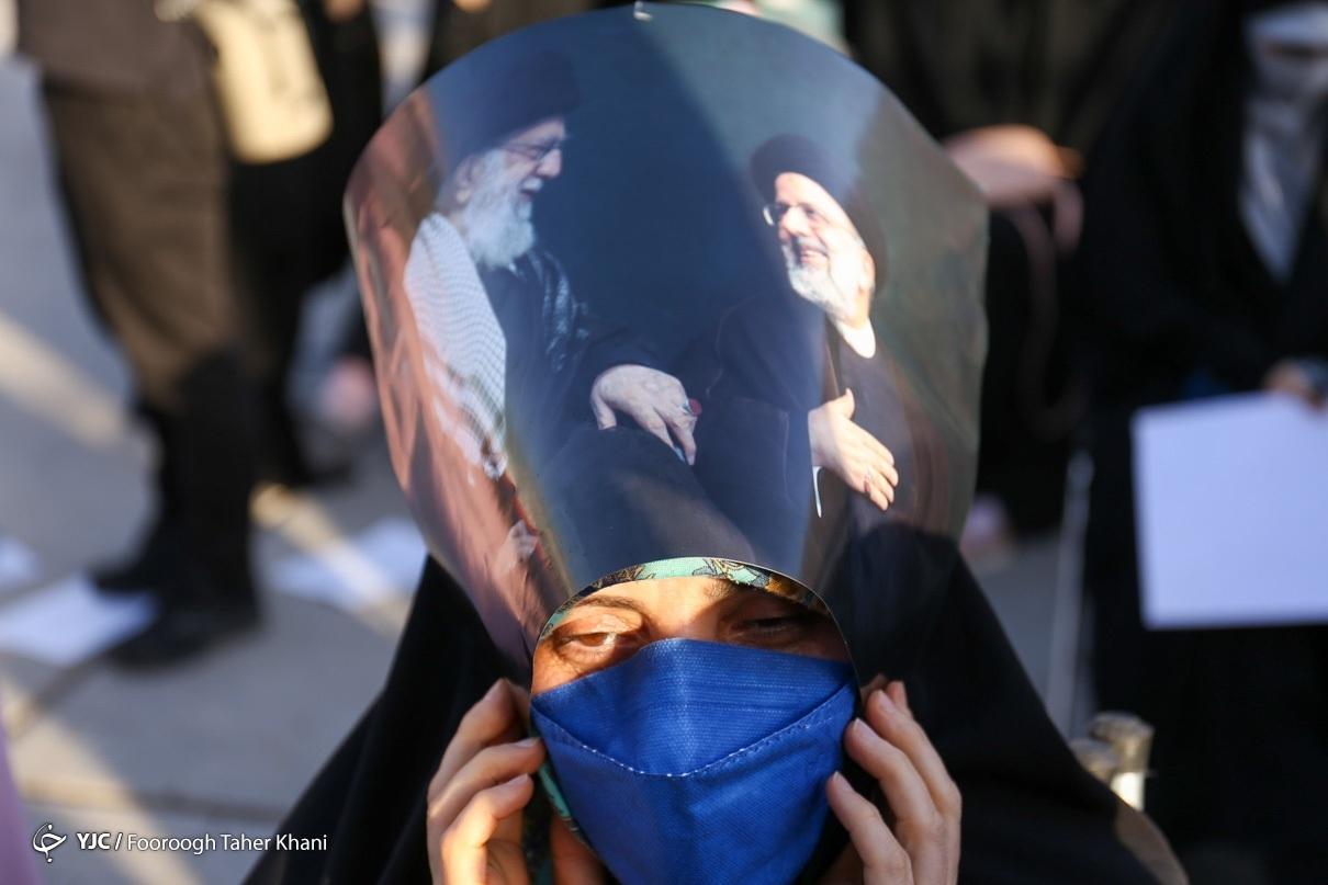 تجمع حامیان رئیسی در میدان هفت تیر