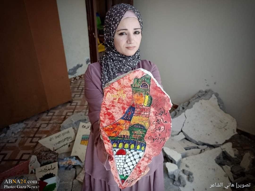 تبدیل ویرانههای حمله هوایی صهیونیستها به آثار هنری در شهر رفح