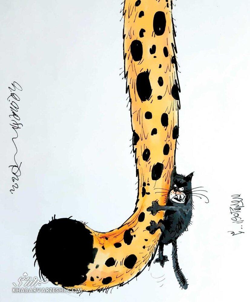 کاریکاتور/ رقابت یوزهای ایرانی با گربه سیاه فوتبال آسیا!