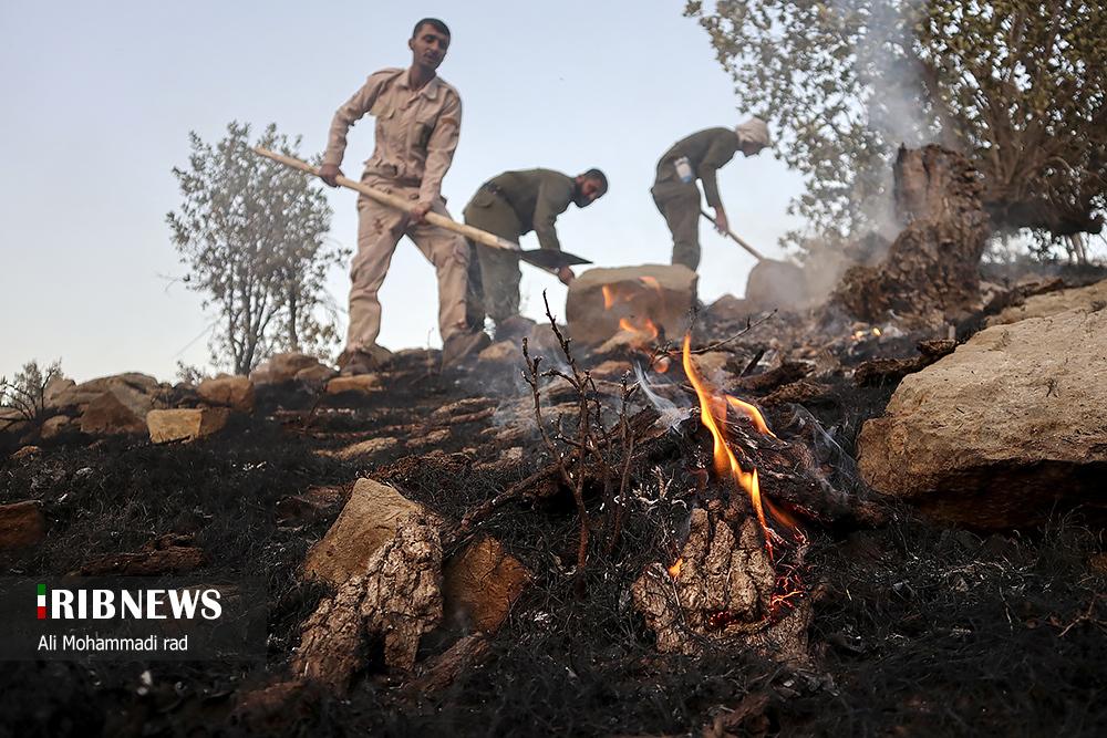 مهار آتش سوزی در کوهمره میمند فارس
