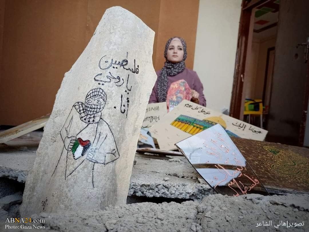 تبدیل ویرانههای حمله هوایی صهیونیستها به آثار هنری