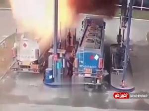 لحظه وقوع آتش سوزی شدید در یک پمپ بنزین روسیه
