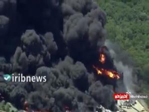 تصاویر آتش سوزی گسترده در یک کارخانه ایالت ایلینوی آمریکا