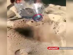 ریختن آب بر روی ماسه داغ