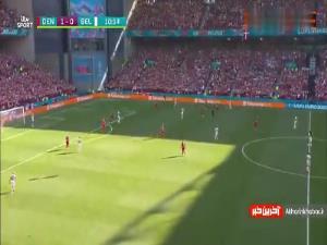 تشویق کریستین اریکسن در دقیقه 10 بازی دانمارک - بلژیک