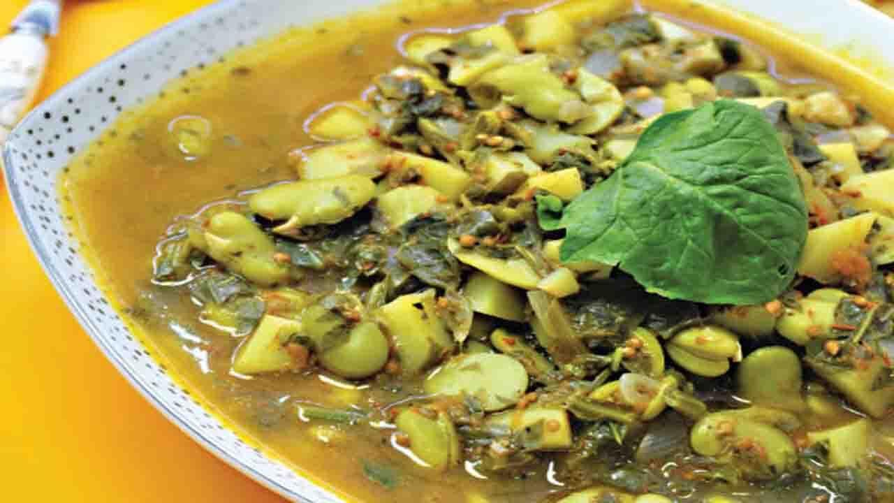 خوراک اسفناج سیبزمینی و باقلا
