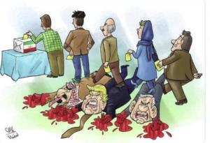 کاریکاتوری که سفیر ایران در یمن در توئیتر منتشر کرد