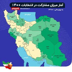 در حال بروزرسانی/ میزان مشارکت در برخی استان های کشور تا ساعت 14