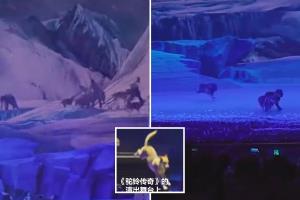 حمله ترسناک گله گرگ ها به بازیگران یک نمایش زنده در چین!