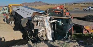 واژگونی اتوبوس مسافربری در کمربندی تربت حیدریه با ۱۲ مصدوم