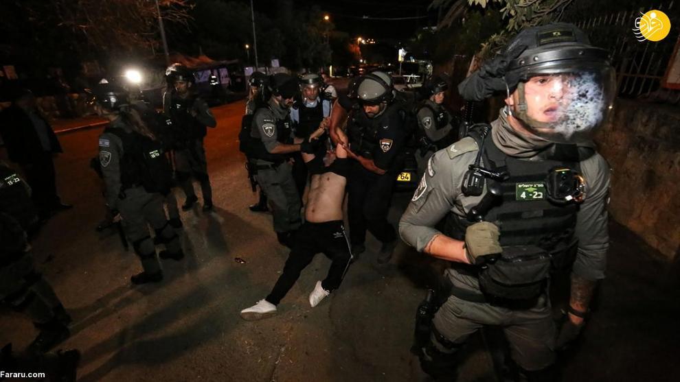 درگیری اشغالگران صهیونیست با جوانان فلسطینی در محله شیخ جراح قدس