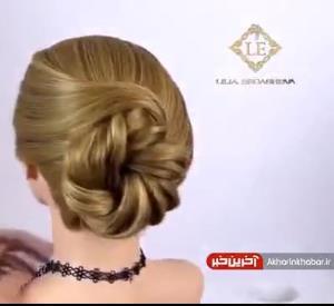 شنیون ساده به کمک هنر بافت مو