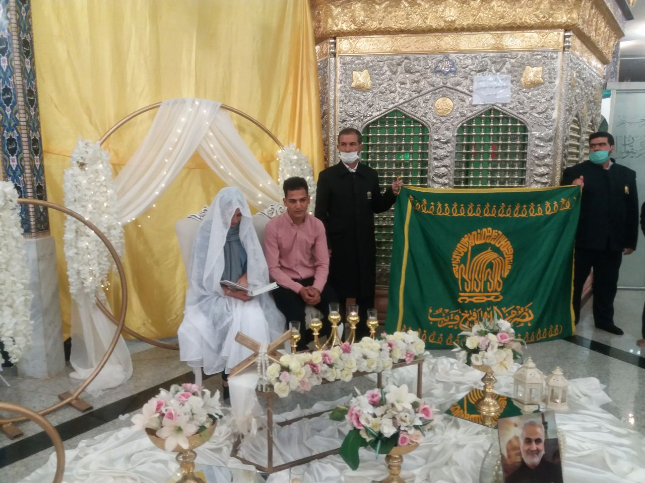 پیوند آسمانی ۳ زوج بیرجندی زیر پرچم سبز حرم رضوی برگزار شد