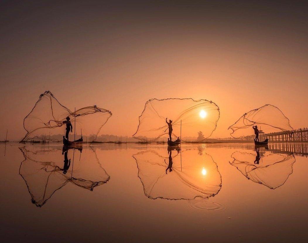 تصویری دیدنی از ماهیگیران درمیانمار