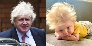شباهت جالب موهای نوزاد انگلیسی به نخست وزیر انگلیس!