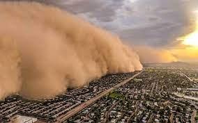 تصاویر باورنکردنی از خیابانهای کویت بعد از طوفان شن