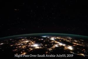 نمای کره زمین بر فراز عربستان سعودی در شب