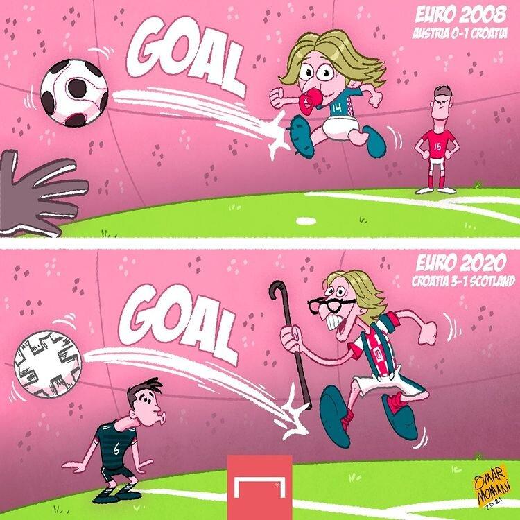 کاریکاتور/ جوانترین و مسنترین گلزن کرواسی در جام ملتها!