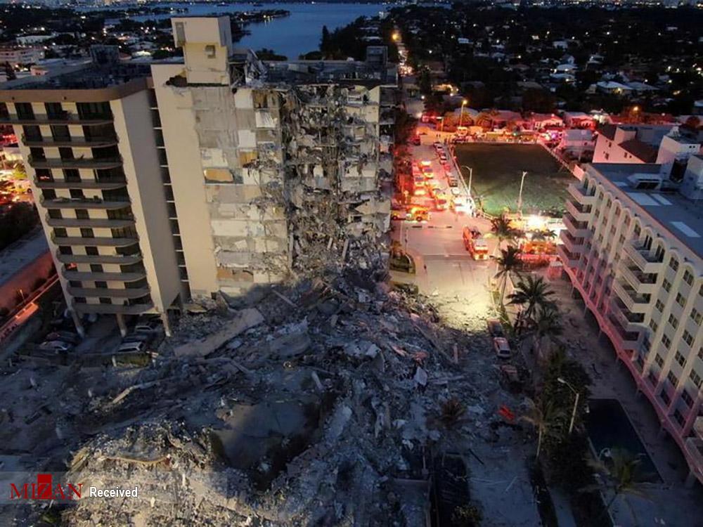 نمای هوایی از ساختمان فروریخته در میامیِ آمریکا