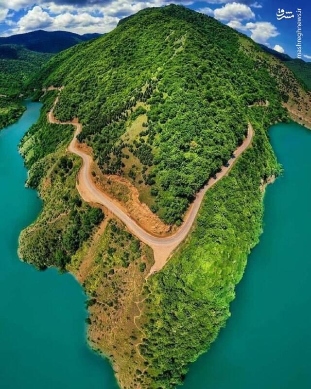 تصویر هوایی زیبا از سد سلیمان ساری