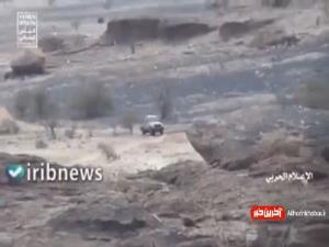 لحظه هدف قرار گرفتن خودروی ارتش سعودی با موشک هدایت شونده