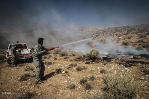 اطفای حریق در منطقه قطری شاهرود؛ ۲ هکتار جنگل در آتش سوخت