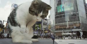 تبلیغات سینمایی ژاپنی ها با گربه غول پیکر!