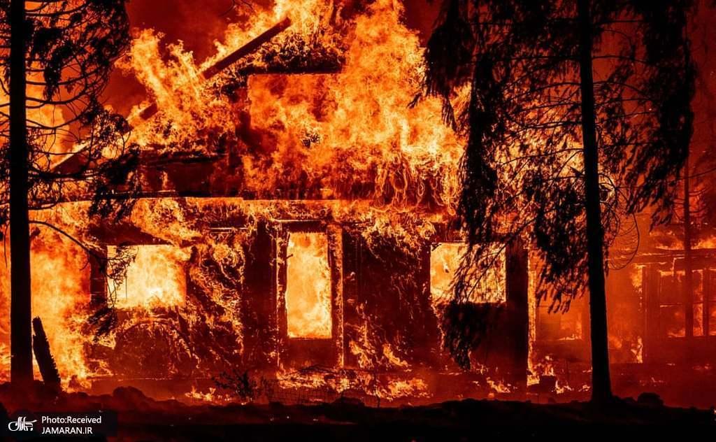 سوختن خانه ای در آتشسوزی جنگلی «دیکسی» کالیفرنیا