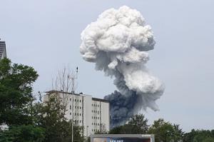 لحظه وقوع انفجار کارخانه مواد شیمیایی در آلمان