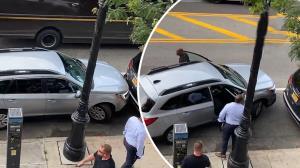 بیرون کشیدن میلیمتری اتومبیل از بین دو خودروی دیگر
