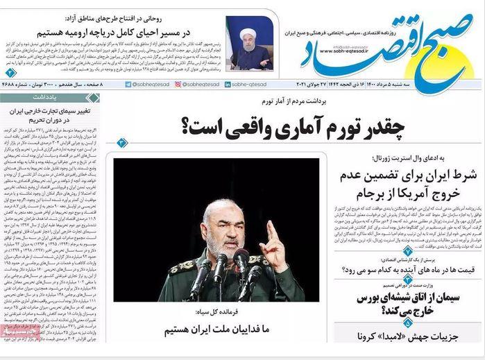 صفحه اول روزنامه صبح اقتصاد
