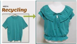 بازیافت لباس؛ آموزش تبدیل تیشرت به بلوز جذاب