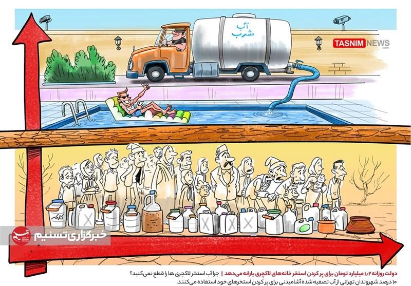 کاریکاتور/ ۱.۲ میلیارد تومان یارانه روزانه استخر خانههای لاکچری!