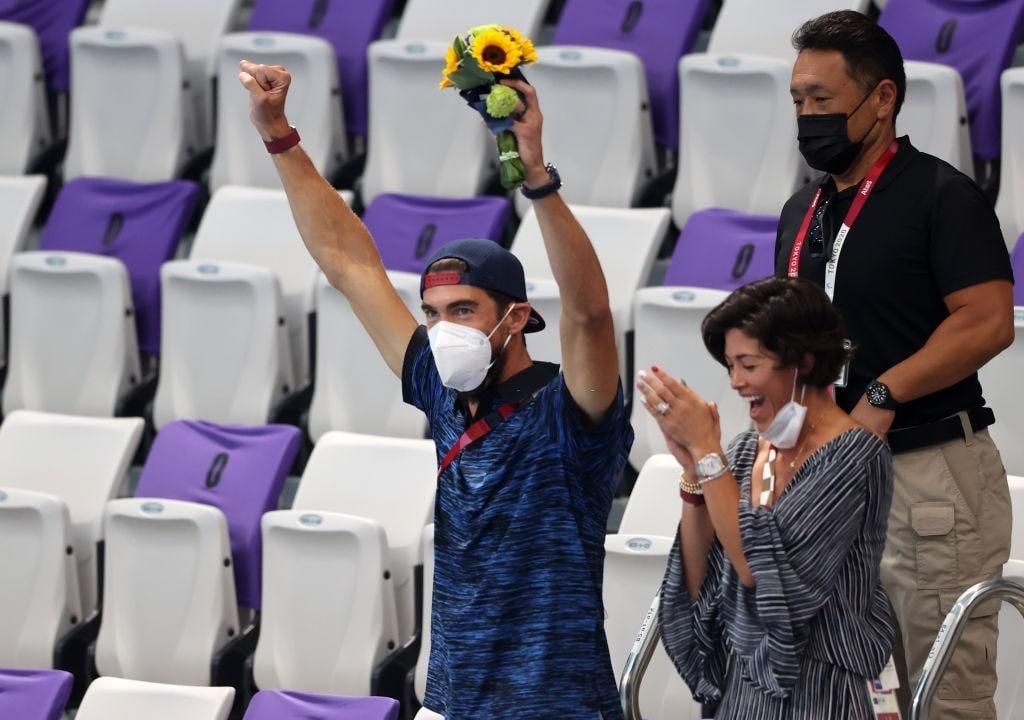 قهرمان افسانه ای شنا و همسرش، تنها تماشاگران مسابقات امروز المپیک