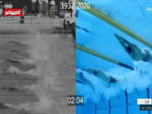 مقایسه شنای 100 متر آزاد مردان المپیک 2020 توکیو با المپیک 1932 لس انجلس