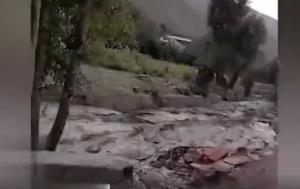 وحشت مردم از سیلاب در روستای «سراسب»