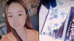فیلم سرخوشانه آخرین لحظات زندگی دختر چینی در بالای جرثقیل!