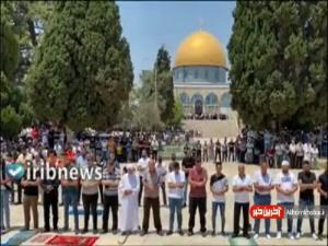 تصاویری از اقامه نماز جمعه در مسجد الاقصی