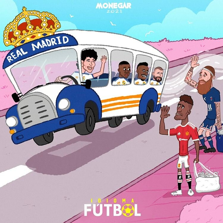 کاریکاتور/ راموس و واران از اتوبوس مادرید پیاده شدند!