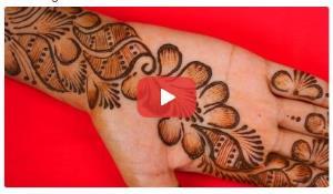 نقش حنای گل و برگ برای کف دست