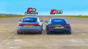 درگ خانوادگی بین برق و بنزین، آئودی R8 در برابر RS E-Tron GT