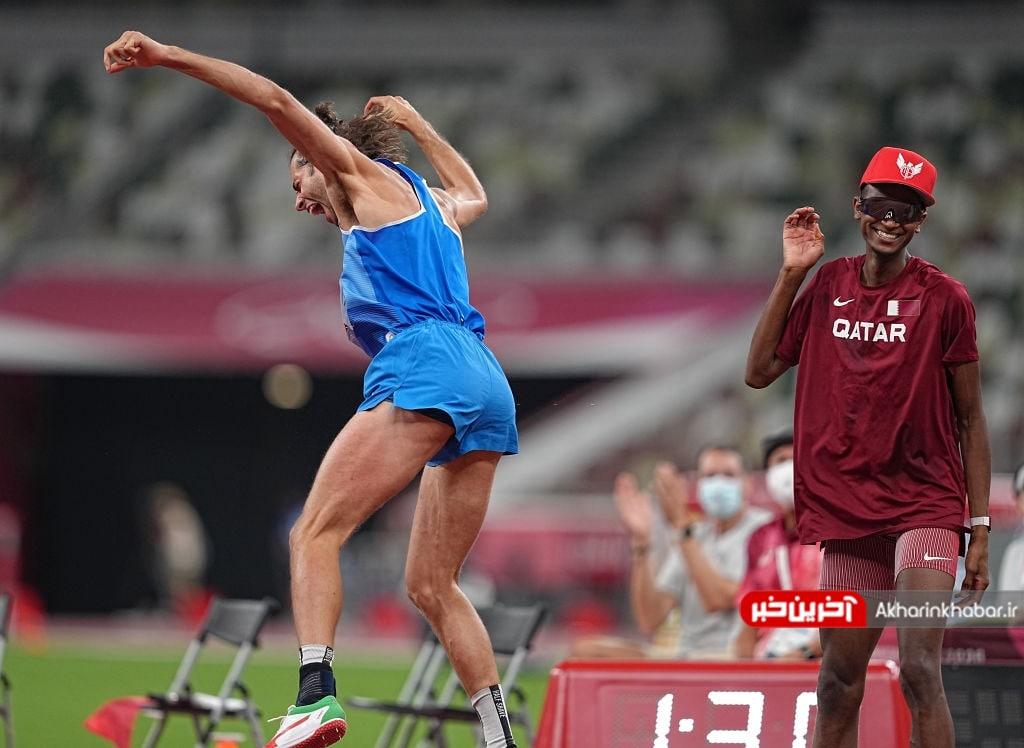 عکس/ خوشحالی ورزشکار ایتالیا در مسابقات پرش از ارتفاع المپیک