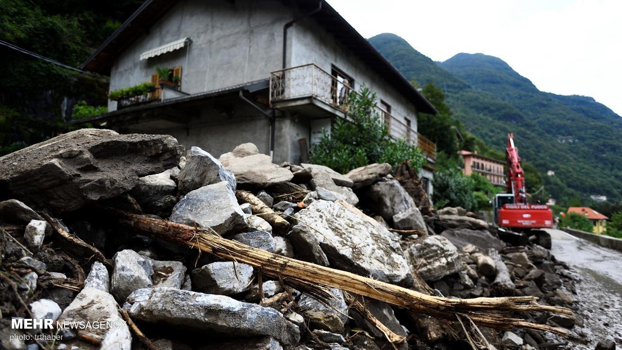 رانش زمین در پی وقوع سیل در ایتالیا