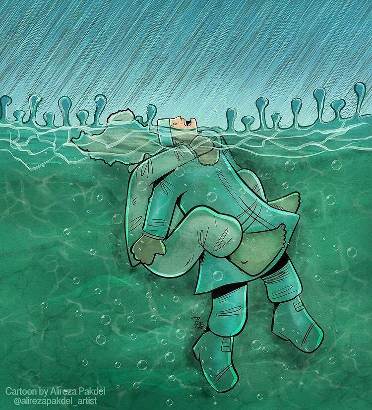 کاریکاتور/ داریم تو کرونا غرق میشیم!